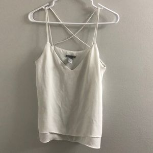 White essential cross back top